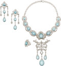 Estate Jewelry:Suites, Diamond, Aquamarine, White Gold Jewelry Suite. ... (Total: 3 Items)