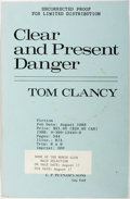 Books:Literature 1900-up, Tom Clancy. Uncorrected Proof of Clear and Present Danger. New York: Putnam, 1989. Signed by the author. Original wr...