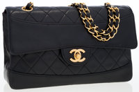 Chanel Black Quilted Lambskin Leather Medium Flap Bag with Black Leather Pouch