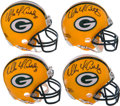 Football Collectibles:Helmets, Mike McCarthy Signed Green Bay Packers Mini Helmets Lot of 4....