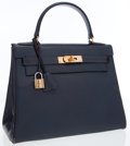 Luxury Accessories:Bags, Hermes 28cm Blue Marine Calf Box Leather Retourne Kelly Bag withGold Hardware. ...