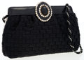 Luxury Accessories:Bags, Valentino Black & Cream Colorblocked Woven Silk Evening Bagwith Jeweled Accent. ...