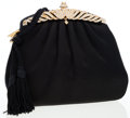 Luxury Accessories:Bags, Judith Leiber Black Silk & Crystal Evening Bag with ShoulderStrap . ...