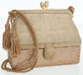 Luxury Accessories:Bags, Judith Leiber Half Bead and Gold Suede Evening Bag with SecretCompartment. ...