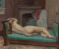 LEON KROLL (American, 1884-1974) Reclining Nude, 1967 Oil on canvas mounted on panel 15 x 18-1/4