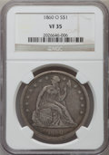 Seated Dollars: , 1860-O $1 VF35 NGC. NGC Census: (15/755). PCGS Population(39/1156). Mintage: 515,000. Numismedia Wsl. Price for problemfr...