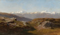 Paintings, HERMANN HERZOG (American, 1832-1932). Snow-Capped Peaks. Oil on canvas laid on board. 8-3/4 x 14-3/4 inches (22.2 x 37.5...