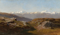HERMANN HERZOG (American, 1832-1932) Snow-Capped Peaks Oil on canvas laid on board 8-3/4 x 14-3/4
