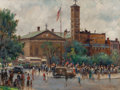 Fine Art - Painting, American:Modern  (1900 1949)  , ALFRED S. MIRA (American, 1900-1980). Washington SquareRally, 1942. Oil on canvasboard. 12 x 16 inches (30.5 x 40.6cm)...