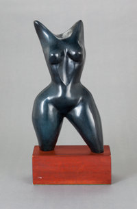ELIZABETH CATLETT (American, 1915-2012) Female Torso, circa 1988 Bronze with dark blue patina 13-
