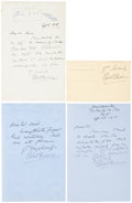 Autographs:Authors, [Author Robert Hichens]. Group of Four Signed Items including onesigned postcard and three autograph letters signed. The po...