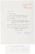 """Autographs:Authors, [Author Jessica Mitford]. Group of One Typed Letter Signed and OneClipped Signature. The TLS is one page, 7"""" x 9"""", Oakland ..."""