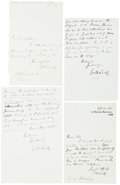 "Autographs:Celebrities, [William E. H. Lecky]. Group of Four Autograph Letters Signed. Allfour letters measure around 4"" x 6"" and only one is dated..."