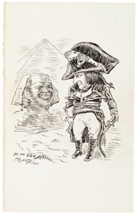 "Thomas Nast Original Ink Drawing Signed ""Th: Nast."" One page, 5"" x 8"", 1898. Nast (1840-1902), known..."