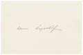 """Autographs:Authors, Author Selma Lagerlöf Card Signed. 5.5"""" x 3.75"""". Lagerlöf(1858-1940) was a Swedish author who is best known for herchildre..."""