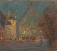 CHARLES SALIS KAELIN (American, 1858-1929) Nocturne Pastel on paper 8-5/8 x 9-7/8 inches (21.9 x
