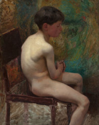 EDWARD HENRY POTTHAST (American, 1857-1927) A Young Boy (Seated Boy), circa 1890 Oil on canvas 36