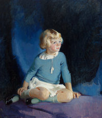 JEAN MACLANE (American, 1878-1964) Girl in Blue 1933 Oil on canvas 42-1/4 x 36-1/4 inches (107.3