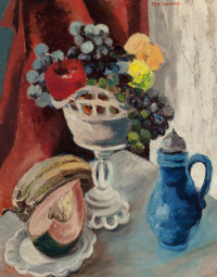MARIA IZQUIERDO (Mexican/American, 1906-1950) Still Life with Apples, Grapes and Melon Oil on board<