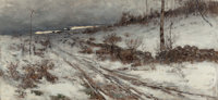 BRUCE CRANE (American, 1857-1937) A Winter's Day, 1882 Oil on canvas 17-1/2 x 37-3/4 inches (44.5