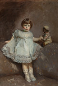 Fine Art - Painting, American:Modern  (1900 1949)  , GLADYS LEE JESPO WILES (American, 1888-1983). Girl with aDoll, 1918. Oil on canvas. 48-1/4 x 33-1/4 inches (122.6 x84....