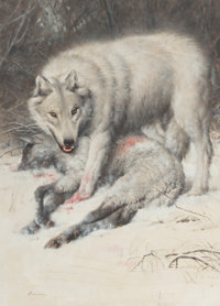 JAMES ELLIOTT BAMA (American, b. 1926) The Custer Wolf, The Call of the Wild and White Fang, paperback covers</...