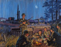 Illustration:Advertising, MEAD SCHAEFFER (American, 1898-1980). U.S. Army Encampment,Martin-Lockhead Electronics & Missiles Corp advertisement.O...