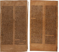 Books:Religion & Theology, [Hebrew Theology]. Two Handmade Persian Torah Scroll Fragments. [N.p., n. d., circa 16th century]. Parchment or deerskin. E...