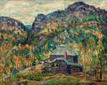 Fine Art - Painting, American:Modern  (1900 1949)  , ERNEST LAWSON (American, 1873-1939). Jack Rabbit Lodge on Roadto Cripple Creek, circa 1927-30. Oil on canvas. 12 x 15 i...