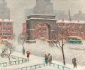 Fine Art - Painting, American:Modern  (1900 1949)  , GUY CARLETON WIGGINS (American, 1883-1962). Winter on WashingtonSquare. Oil on canvas. 20 x 24 inches (50.8 x 61.0 cm)...