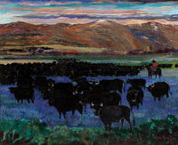 PALMER COLE HAYDEN (American, 1890-1973) The Western Range Oil on canvas 24 x 29-7/8 inches (61.0