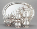 Silver Holloware, American:Tea Sets, A FIVE PIECE JOHN WENDT EGYPTIAN REVIVAL PATTERN SILVER TEAAND COFFEE SERVICE. John R. Wendt & Co., New York, N... (Total:6 Items)