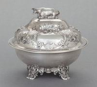 A WILLIAM GALE & SON COIN SILVER BUTTER DISH William Gale & Son, New York, New York, circa 1853 Marks: W.G