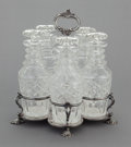 Silver Holloware, American:Coin Silver, A WILLIAM FORBES COIN SILVER STAND WITH FIVE ORIGINAL GLASSBOTTLES. William Forbes, New York, New York, circa 1860. Marks: ...(Total: 6 Items)