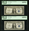 """Small Size:Silver Certificates, Fr. 1609/Fr. 1610 $1 1935A """"R"""" and """"S"""" Silver Certificates. PCGS Very Choice New 64PPQ.. ... (Total: 2 notes)"""