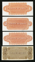 Obsoletes By State:Ohio, (Not Shown), OH- State of Ohio $1, $2, $3, $5 Wolka 2042-01, 02,03, 05 Back Proofs. ... (Total: 4 notes)