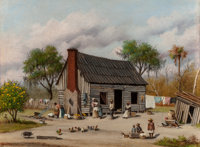 WILLIAM AIKEN WALKER (American, 1838-1921) Sharecroppers Gathering in the Yard Oil on board 9-1/8