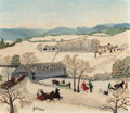 Paintings, GRANDMA MOSES (American, 1860-1961). February, 1944. Tempera on masonite. 12 x 14 inches (30.5 x 35.6 cm). Signed lower ...