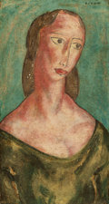 Fine Art - Painting, American:Modern  (1900 1949)  , ALFRED HENRY MAURER (American, 1868-1932). Head of a Womanand Nude: A Double-Sided Work. Oil on panel. 21-1/4x...