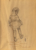 Illustration:Magazine, NORMAN ROCKWELL (American, 1894-1978). Cellist and Little GirlDancing preliminary study, 1923. Pencil on paper. 6 x 4-1...
