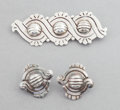 Silver Smalls:Other , A HÉCTOR AGUILAR MEXICAN SILVER BROOCH AND PAIR OF EARRINGS .Héctor Aguilar, Taxco, Mexico, circa 1940-1945. Marks: HA... (Total: 3 Items)