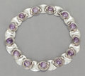 Silver & Vertu:Smalls & Jewelry, A FRED DAVIS MEXICAN SILVER AND AMETHYST NECKLACE. Fred Davis, Mexico City, Mexico, circa 1950. Marks: FD, SILVER, MADE IN...