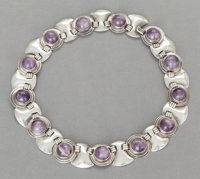 A FRED DAVIS MEXICAN SILVER AND AMETHYST NECKLACE Fred Davis, Mexico City, Mexico, circa 1950 Marks: FD, SIL