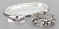 Silver Smalls:Other , A FRED DAVIS MEXICAN SILVER AND AMETHYST TRAY, BRACELET AND PAIR OFEARRINGS. Fred Davis, Mexico City, Mexico, circa 1950. M...