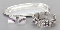 A FRED DAVIS MEXICAN SILVER AND AMETHYST TRAY, BRACELET AND PAIR OF EARRINGS Fred Davis, Mexico City, Mexico, circ