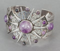 Silver Smalls, A WILLIAM SPRATLING MEXICAN SILVER AND AMETHYST CUFF . WilliamSpratling, Taxco, Mexico, circa 1940. Marks: WS (conjoine...