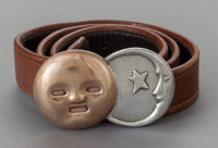 A WILLIAM SPRATLING MEXICAN SILVER AND COPPER BUCKLE ON LEATHER BELT William Spratling, Taxco, Mexico, circa 1940
