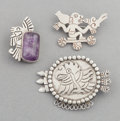 Silver Smalls:Other , THREE WILLIAM SPRATLING MEXICAN SILVER AND AMETHYST BROOCHES .William Spratling, Taxco, Mexico, circa 1950. Marks: WS (...(Total: 3 Items)