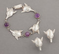 Silver Smalls:Other , A HUBERT HARMON MEXICAN SILVER AND AMETHYST QUARTZ BRACELET ANDPAIR OF EARRINGS . Hubert Harmon, Taxco, Mexico, circa 1944-...(Total: 3 Items)