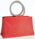 Luxury Accessories:Bags, Judith Leiber Red Lizard Evening Bag with Crystal Handles . ...